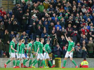 Press Eye Belfast - Northern Ireland 24th March 2019  European Championship 2020 Qualifying Round at the National Stadium at Windsor Park, Belfast.  Northern Ireland Vs Belarus.  Northern Ireland's Jonny Evans scores a header to make it 1-0.   Picture by Jonathan Porter/PressEye.com