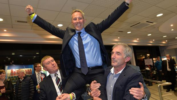 DUP's Ian Paisley celebrates victory in the North Antrim constituency count in Ballymena in the May 2015 General Election. Picture Stephen Davison Pacemaker 8/5/2015.