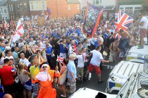 Loyalists confront police in north Belfast, after an Orange July 12  parade was stopped from passing a Nationalist area. PRESS ASSOCIATION Photo. Picture date: Friday July 12, 2013. See PA story ULSTER Parades. Photo credit should read: Julien Behal/PA Wire