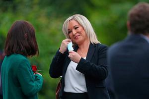 Deputy First Minister Michelle O'Neill outside St Eugene's Cathedral in Londonderry ahead of the funeral of John Hume. PA Photo. Picture date: Wednesday August 5, 2020. Hume was a key architect of Northern Ireland's Good Friday Agreement and was awarded the Nobel Peace Prize for the pivotal role he played in ending the region's sectarian conflict. He died on Monday aged 83, having endured a long battle with dementia. See PA story FUNERAL Hume. Photo credit should read: Niall Carson/PA Wire