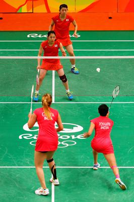 RIO DE JANEIRO, BRAZIL - AUGUST 11:  Ayaka Takahashi and Misaki Matsutomo of Japan compete against Ashwini Ponnappa and Jwala Gutta of India in the Womens Doubles on Day 6 of the 2016 Rio Olympics at Riocentro - Pavilion 4 on August 12, 2016 in Rio de Janeiro, Brazil.  (Photo by Dean Mouhtaropoulos/Getty Images)