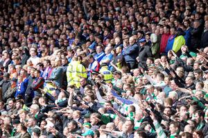 Celtic and Rangers' fans during the William Hill Scottish Cup semi-final match at Hampden Park, Glasgow. PRESS ASSOCIATION Photo. Picture date: Sunday April 17, 2016. See PA story SOCCER Rangers. Photo credit should read: Jeff Holmes/PA Wire. EDITORIAL USE ONLY