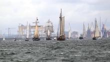 Tall ships depart Belfast port as they form a parade on route to near Castlerock to start the next leg of their journey to Norway. Pic: Steven McAuley/McAuley Multimedia.