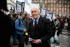 LONDON, ENGLAND - APRIL 01:  Tony Benn speaks as protesters and members of The Stop the War Coalition gather at the US Embassy to march to Trafalgar Square on April 1, 2009 in London, England. Protesters marched through London demanding action on poverty, climate change and jobs, as world leaders arrived in London ahead of the G20 summit.  (Photo by Tim Whitby/Getty Images)