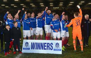 PACEMAKER BELFAST  07/02/2017 Linfield v Crusaders Co Antrim Shield Final. Linfield winners of  this evenings final at warden Street in Ballymena. Picture By: Arthur Allison/Pacemaker Press