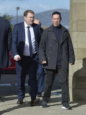 Eamon McAuley and Neill Sinclair pictured arrive for Barney Eastwood's funeral at Colmcille's Church in Holywood, Co Down.  Friday 13th  March 2020