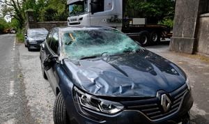 The car which was hit by a falling tree on the A25 Downpatrick Road outside Seaforde, County Down