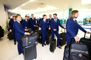 Northern Ireland players pictured as they leave from George Best Belfast City Airport to take part in a training camp in Austria in advance of the 2016 Euros. Press Eye - Belfast -  Northern Ireland - 30th May 2016 - Photo by William Cherry