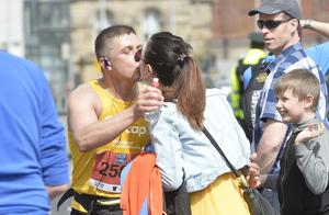 7th May 2018 37th Deep RiverRock Belfast City Marathon  Sarah McCoubrie gets a big kiss from boyfriend   at the marathon  Mandatory Credit ©Presseye/Stephen Hamilton