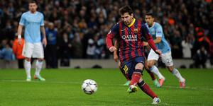 Barcelona's Lionel Messi scores the opening goal of the game from the penalty spot during the UEFA Champions League, Round of 16 match at the Etihad Stadium, Manchester. PRESS ASSOCIATION Photo. Picture date: Tuesday February 18, 2014. See PA story SOCCER Man City. Photo credit should read: Martin Rickett/PA Wire