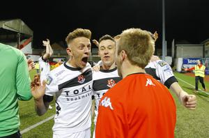Crusaders celebrating after they win the league in action on April 19, 2016  Belfast , Northern Ireland ( Photo by Kevin Scott / Belfast Telegraph )