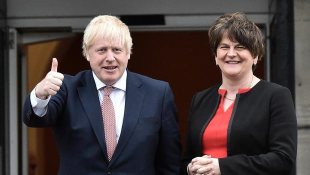 Boris Johnson met with  first and deputy first ministers Arlene Foster and Michelle O'Neill  and NI Secretary Julian Smith at Stormont Castle to mark the restoration of devolution in NI. Photo Colm Lenaghan/Pacemaker Press