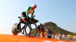 Ireland's Colin Lynch competes in the Men's Time Trial C2 held in Pontal during the seventh day of the 2016 Rio Paralympic Games in Rio de Janeiro, Brazil. PA