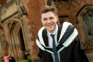Celebrating graduation success from Queens University Belfast is Conor Evans, graduating with a degree in French and Spanish during which he spent a year teaching English at a French Circus School near Toulouse.