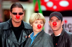 File photo dated 04/02/99 of Boyzone members Steven Gately (right) and Keith Duffy with comedienne Victoria Wood in Leicester Square, London, to help launch the 1999 Comic Relief appeal, Photo credit: Fiona Hanson/PA Wire