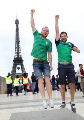 Northern Ireland fans Neil Melville and Colin Maxwell in Paris where Northern Ireland will play their final Euro 2016 group game against Germany at the Parc des Princes.