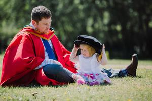 Ulster University summer graduations 2018 at the Coleraine Campus   Graduating from Ulster University today is Jay Calvert wth daughter Cara, with a PHD in Marine Ecology. Picture John Murphy Aurora