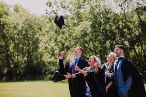 Ulster University summer graduations 2018 at the Coleraine Campus   Graduating from Ulster University today are from left, Matthew Scott, Robyn Barr, Emily Flemimg & Aodhfin Coyle, Picture John Murphy Aurora PA