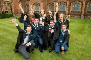 Celebrating their graduation from the School of Electronics, Electrical Engineering and Computer Science at Queen's University Belfast are: (Front row) Chris Herron, Sean Quinn, Gareth McAuley, Adam Sutton. (Back Row) Donna Prescott, Roisin Slevin, Noelle Vallely and Heather Currie