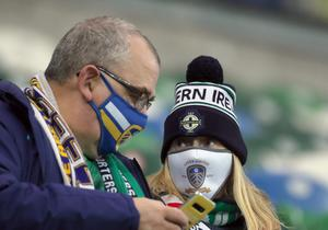 PACEMAKER, BELFAST, 8/10/2020: Northern Ireland fans during the Nations League match against Austria at the National stadium in Belfast.  PICTURE BY STEPHEN DAVISON