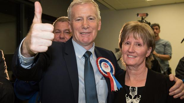 PACEMAKER BELFAST  09/06/2017 Gregory Campbell with his wife Frances after he was re-elected to represent East Londonderry