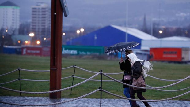 The beginning of Storm Ciara hits Belfast as winds are expected to reach 80mph bringing heavy rain on Sunday. Picture Colm O'Reilly
