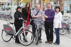 Colin Thompson (centre) with Councillor Declan Boyle, Chair of Belfast City Council's Strategic Policy and Resources Committee; Gillian Shields, Community Investment Manager with Coca-Cola HBC Northern Ireland; Veronica Noble, Client Account Manager with NSL; and Anne Burke from the Department for Regional Development Cycling Unit. (Jonathan Porter/PressEye)
