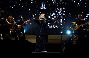 Adele performs on stage at the SSE Arena Belfast on February 29, 2016 in Belfast, Northern Ireland.  (Photo by Gareth Cattermole/Getty Images)