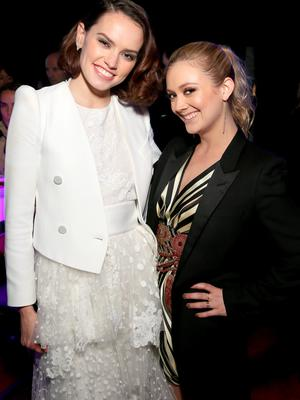 HOLLYWOOD, CA - DECEMBER 14:  Actors Daisy Ridley (L) and Billie Lourd attend the after party for the World Premiere of Star Wars: The Force Awakens on Hollywood Blvd on December 14, 2015 in Hollywood, California.  (Photo by Jesse Grant/Getty Images for Disney)