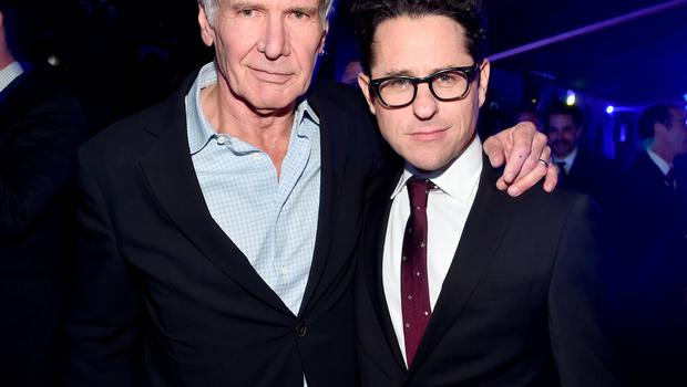 HOLLYWOOD, CA - DECEMBER 14:  Actor Harrison Ford (L) and director J.J. Abrams attend the after party for the World Premiere of Star Wars: The Force Awakens on Hollywood Blvd on December 14, 2015 in Hollywood, California.  (Photo by Alberto E. Rodriguez/Getty Images for Disney)