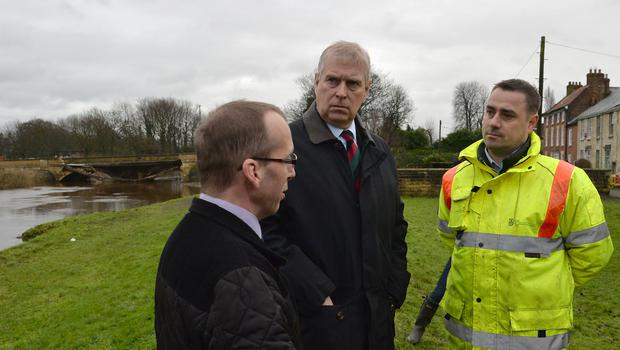 The Duke of York in Tadcaster following flooding in 2016 (Anna Gowthorpe/PA)