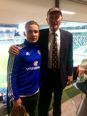 Harry Gregg meets World champion boxer Carl Frampton at the opening of Windsor Park
