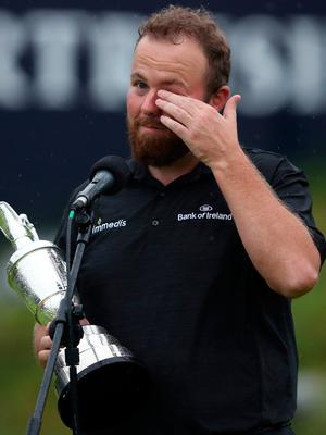 Republic of Ireland's Shane Lowry celebrates with Claret Jug after winning The Open Championship 2019 at Royal Portrush Golf Club. PRESS ASSOCIATION Photo. Picture date: Sunday July 21, 2019. See PA story GOLF Open. Photo credit should read: David Davies/PA Wire. RESTRICTIONS: Editorial use only. No commercial use. Still image use only. The Open Championship logo and clear link to The Open website (TheOpen.com) to be included on website publishing.