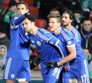 Israel's Eden Ben Basat (centre) celebrates scoring his side's second goal against Northern Ireland during Tuesday night's World Cup Group F qualifier match at Windsor Park