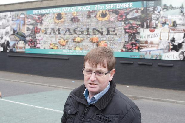Willie Frazer at the International Peace wall, Northumberland Street Belfast while Sinn Fein unvail a new mural to Gerry Adams. 03-05-2014 Picture Colm O'Reilly Sunday Life