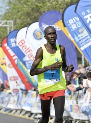 Press Eye - Belfast - Northern Ireland 1st May 2017 - Picture by Stephen Hamilton / Press Eye.  2017 Deep RiverRock Belfast City Marathon, Northern Ireland. Third placed men Emanuel Kiprotich Melly pictured at the finish line at Ormeau park.
