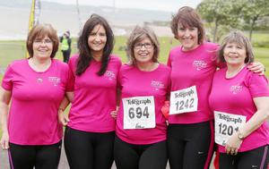 Northern Ireland- 23rd May 2014 Mandatory Credit - Photo-Jonathan Porter/Presseye.  Belfast Telegraph RunHer 10k coastal challenge from Seapark to Crawfordsburn.  Left to right.  Colette with her daughter Emma, sister Maureen McCann her niece Ciara and sister Betty pictured at Seapark before the race.