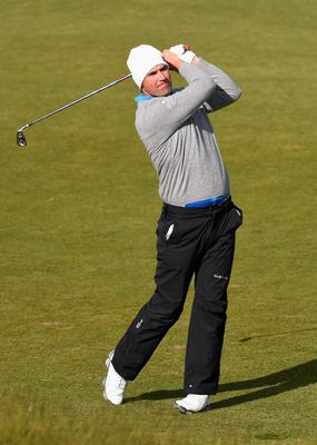 NEWCASTLE, NORTHERN IRELAND - MAY 29:  Padraig Harrington of Ireland hits his 2nd shot on the 13th hole during the Second Round of the Dubai Duty Free Irish Open Hosted by the Rory Foundation at Royal County Down Golf Club on May 29, 2015 in Newcastle, Northern Ireland.  (Photo by Ross Kinnaird/Getty Images)