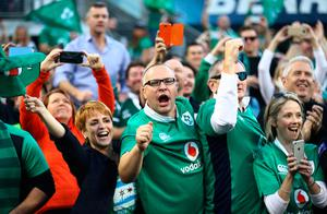 CHICAGO, IL - NOVEMBER 05:  Ireland fans celebrate their team's 40-29 victory during the international match between Ireland and New Zealand at Soldier Field on November 5, 2016 in Chicago, United States.  (Photo by Phil Walter/Getty Images)