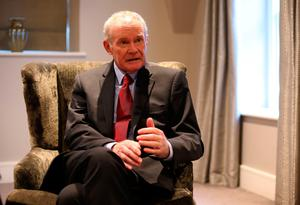 Martin McGuinness during an interview with the Press Association at the Bishop's Gate Hotel in Derry, as the former Deputy First Minister announced that he is quitting elected politics to concentrate on recovering from serious health issues. PA