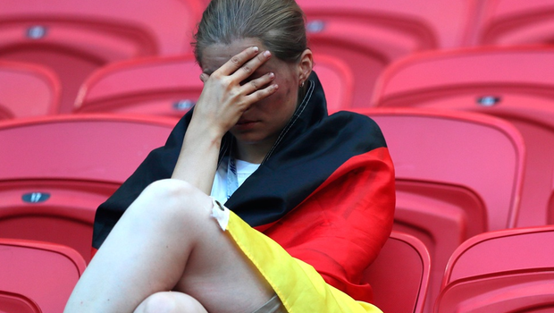 KAZAN, RUSSIA - JUNE 27:  A Germany fan looks dejected following his sides defeat in the 2018 FIFA World Cup Russia group F match between Korea Republic and Germany at Kazan Arena on June 27, 2018 in Kazan, Russia.  (Photo by Kevin C. Cox/Getty Images)