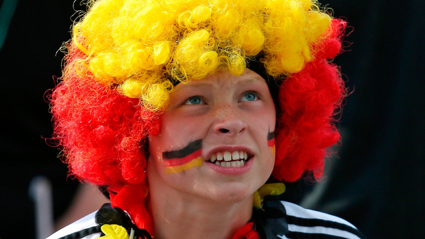 HAMBURG, GERMANY - JUNE 27: Fans of Germany support their Team while watching the 2018 FIFA World Cup Russia Group F match between Korea Republic and Germany at the FIFA Fan Fest Heiligengeistfeld on June 27, 2018 in Hamburg, Germany.  (Photo by Cathrin Mueller/Bongarts/Getty Images)