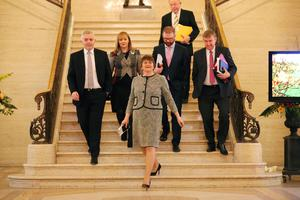 New First Minister Arlene Foster arrives at Parliament Buildings, Stormont this afternoon. Picture by Kelvin Boyes / Press Eye.