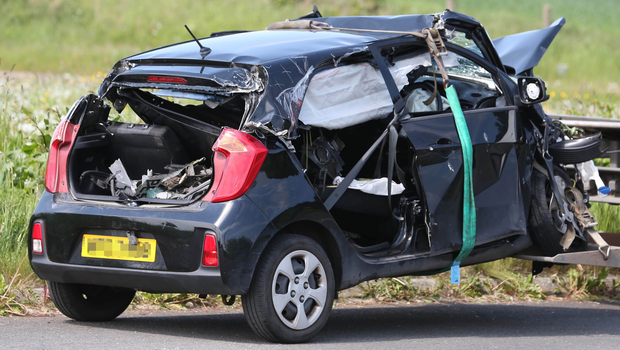 One of the wrecked cars involved in the Co Down crash yesterday morning