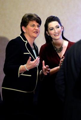 BELFAST, NORTHERN IRELAND - DECEMBER 17:  DUP leader in waiting Arlene Foster (L) jokes with DUP MLA Emma Pengelly (R) at the Park Avenue hotel ahead of the Democratic Unionist Party electoral college meeting on December 17, 2016 in Belfast, Northern Ireland. Arlene Foster, who will succeed Peter Robinson becomes the first female leader of the Democratic Unionist Party. No other nominations were put forward for the role of leader. Mrs Foster will also be appointed as the new Northern Ireland first minister in the coming weeks. The former Ulster Unionist Party member has enjoyed a rapid rise through the ranks of the DUP following her defection in 2004, twice standing in as temporary first minister for Peter Robinson in times of personal and political crisis. The DUP remain the largest political party within the provinces' Executive government.  (Photo by Charles McQuillan/Getty Images)