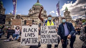 A protest over the death of George Floyd is held at City Hall in Belfast, Northern Ireland on June 3rd 2020 (Photo by Kevin Scott for Belfast Telegraph)