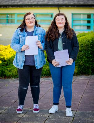 Megan McCloskey and Emma McCloskey receives A-Level results at Malone College on August 17th 2017 (Photo by Kevin Scott / Belfast Telegraph)