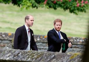 ENGLEFIELD, ENGLAND - MAY 20:  Britain's Prince William, left, and his brother Prince Harry arrive for the wedding of Pippa Middleton and James Matthews at St Mark's Church on May 20, 2017 in Englefield. Middleton, the sister of Catherine, Duchess of Cambridge is to marry hedge fund manager James Matthews in a ceremony Saturday where her niece and nephew Prince George and Princess Charlotte are in the wedding party, along with sister Kate and princes Harry and William. (Photo by Kirsty Wigglesworth - Pool/Getty Images)
