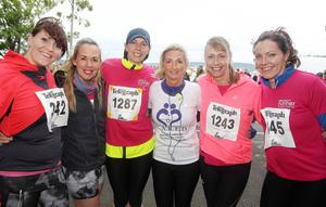 Northern Ireland- 23rd May 2014 Mandatory Credit - Photo-Jonathan Porter/Presseye.  Belfast Telegraph RunHer 10k coastal challenge from Seapark to Crawfordsburn.  Left to right.  North Down Physio's Vicky Ferguson, Paula Simpson, Julie Webster, Marilyn Patterson, Nicola Thompson and Cat Ferguson pictured at Seapark before the start of the race.