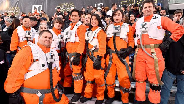 """Fans dressed in character wait in the stands at the world premiere of """"Star Wars: The Force Awakens"""" at the TCL Chinese Theatre on Monday, Dec. 14, 2015, in Los Angeles. (Photo by Jordan Strauss/Invision/AP)"""